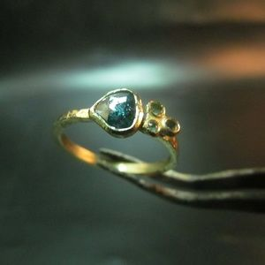 14k yellow gold Blue Diamond and Tourmalines ring.